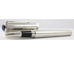 Cartier OP000089 Santos Dumont Rivet Motif In Metal With Palladium Finish Roller Ball Pen