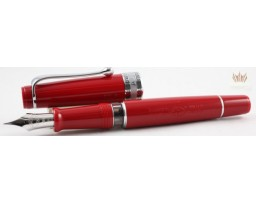 Aurora Limited Edition Optima Red With Silver Trim, Flexible Fine Nib Fountain Pen