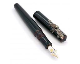 Nakaya Piccolo Long Writer Kuro-Tamenuri Fountain Pen with Koi (Carps) Stopper