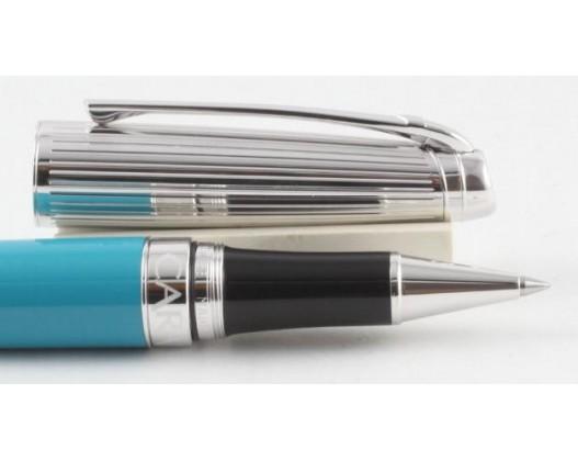 Caran d'Ache Leman Bicolor Turquoise Blue Silver Roller Ball Pen
