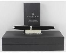 Caran d'ache Leman Ebony Black Lacquer Silver Fountain Pen