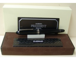 Platinum President Black Silver Trim Fountain Pen