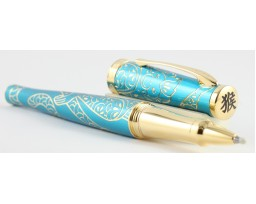 Cross Special Edition 2016 Sauvage Year of the Monkey Teal Gold Trim Roller Ball Pen