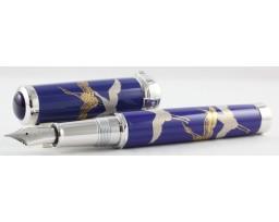 Sailor Arita Special Edition 400th Anniversary Koransha Ruri Tsurunomai (Cranes) Silver Trim Fountain Pen