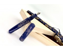 Nakaya Piccolo Cigar Chinkin Pattern of Snowflakes Kikyo Fountain Pen